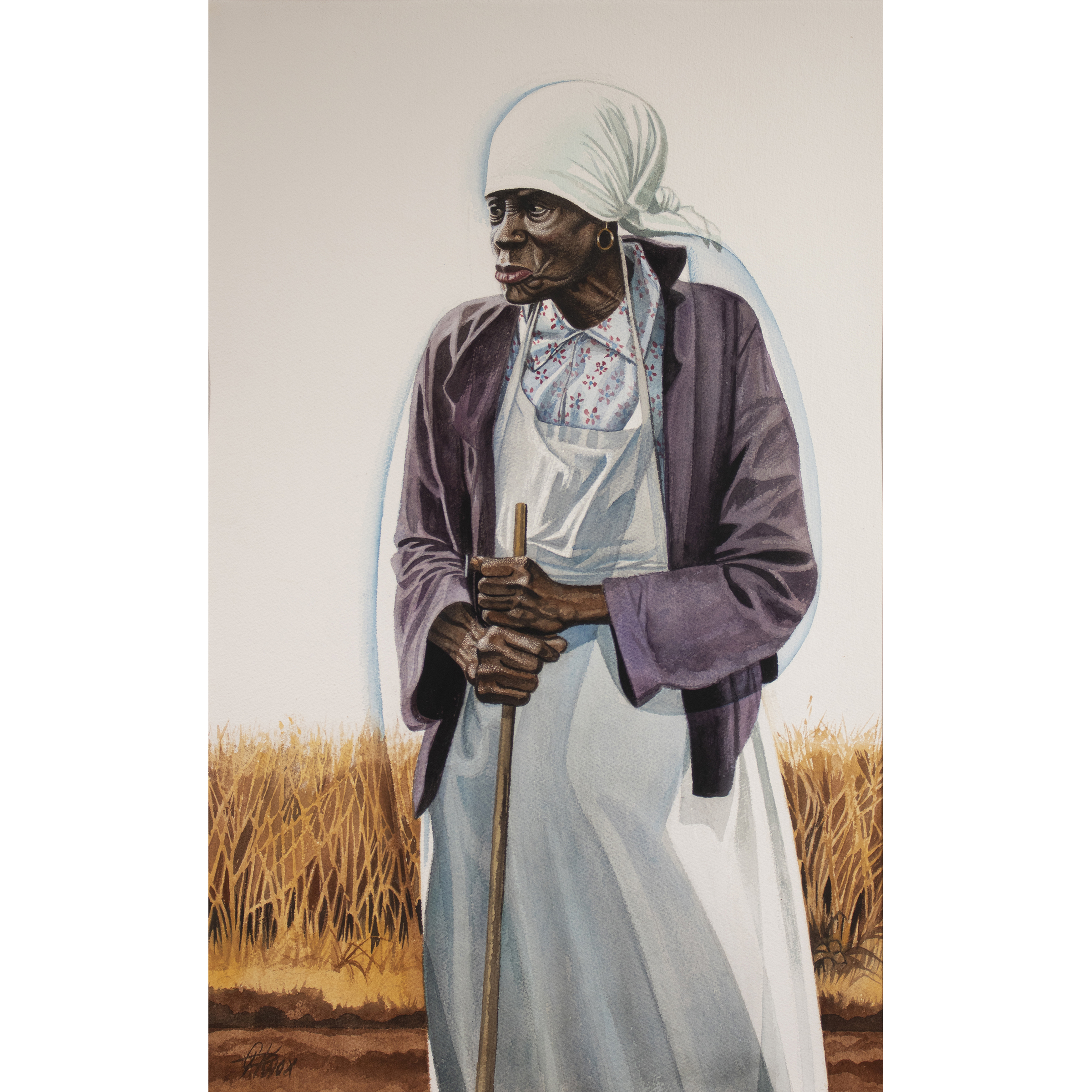 An Elderly Woman With An Apron